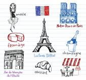 France symbols as funky doodles — Stock Vector