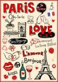 Paris love doodles — Stock Vector