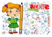 Divertidos doodles - regreso a la escuela. — Vector de stock