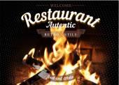 Autentic barbecue restaurant background. — Stok Vektör