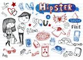 Hipsters doodle set — Stock Vector