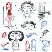 Female beauty, beauty salon, doodle set — Stock Vector