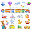 Variety of childrens toys — Stock Vector #68968563