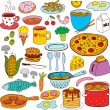 Meal and ware doodle set — Stock Vector #74557821