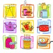Meal and ware doodle set — Stock Vector #74558221