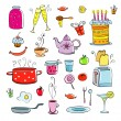 Meal and ware doodle set — Stock Vector #74913537