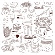 Meal and ware doodle set — Stock Vector #74913575