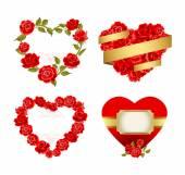 Frames with red roses. — Vetor de Stock