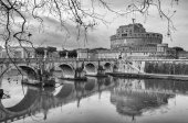 Rome Castel Sant Angelo black and white — Stock Photo