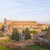 Rome Colosseum From Forum Ruins — Stock Photo