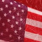 Fireworks over United States flag — Stock Photo #75127731