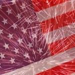 Fireworks over United States flag — Stock Photo #75127753