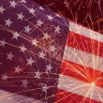 Fireworks over United States flag — Stock Photo #75127761