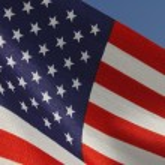 United States flag over blue sky — Stock Photo #76166595