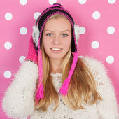 Portrait teen girl in winter — Stock Photo