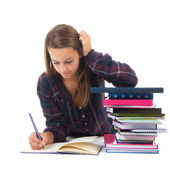 School girl with books — Stock Photo