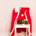Vintage interior with clothes Santa — Stock Photo #58290917