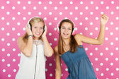 Girlfriends love disco music — Stock Photo