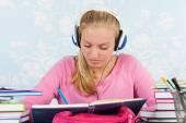 High school student with homework — Stock Photo