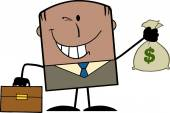 Winking African American Businessman With Briefcase Holding A Money Bag — Stock Photo