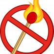 Stop Fire Sign With Burning Match Stick — Stock Photo #54017357