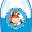 Milk Bottle With Cartoon Cow Head Label — Stock Photo #54017715