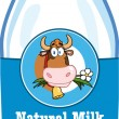 Milk Bottle With Cartoon Label And Text — Stock Photo #54017717