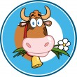 Cartoon Circle Label With Cow — Stock Photo #54017733