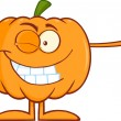 Winking Halloween Pumpkin Character Giving A Thumb Up — Stock Photo #54017895