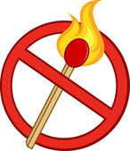 Stop Fire Sign With Burning Match Stick — Stock Photo
