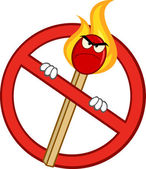 Stop Fire Sign With Angry Burning Match Stick Cartoon Character — Stock Photo