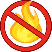 Segnale di stop fuoco con la fiamma di combustione — Foto Stock