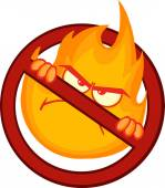 Stop Fire Sign With Angry Burning Flame Cartoon Character — Stock Photo