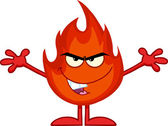 Evil Fire Cartoon Character With Open Arms — Stock Photo