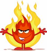 Evil Fire Cartoon Character With Open Arms In Front Of Flames — Stock Photo