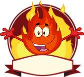 Flame Cartoon Mascot Label — Stock Photo