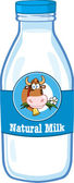 Milk Bottle With Cartoon Label And Text — Foto de Stock