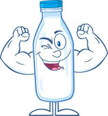 Winking Milk Bottle Cartoon Character Showing Muscle Arms — Stock Photo