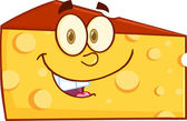 Smiling Wedge Of Cheese Cartoon Character — Stockfoto