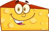 Smiling Wedge Of Cheese Cartoon Character — 图库照片