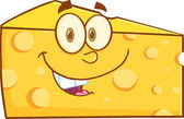 Smiling Cheese Wedge Cartoon Character — 图库照片