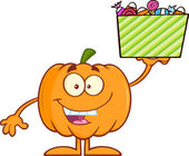 Smiling Halloween Pumpkin Character Holds A Box With Candy — ストック写真