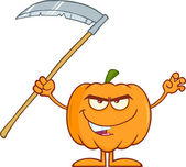 Scaring Halloween Pumpkin With Scythe Cartoon Character — Stock Photo