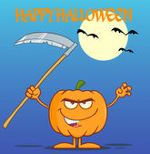 Scaring Halloween Pumpkin With A Scythe Greeting Card — Stock Photo