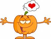 Halloween Pumpkin With Open Arms For Hugging And Speech Bubble With Heart — Stock Photo