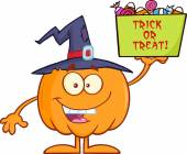Smiling Halloween Pumpkin With A Witch Hat Holds A Box With Candy — Стоковое фото