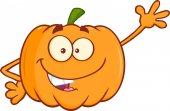 Funny Pumpkin Cartoon Character Waving For Greeting — ストック写真