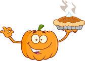 Smiling Pumpkin Cartoon Character Holding Perfect Pie — Stockfoto