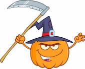 Scaring Halloween Pumpkin With A Witch Hat And Scythe — Stock Photo