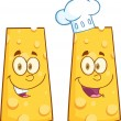 Smiling Wedge Of Cheese Character. Collection Set — Stock Photo #54654755